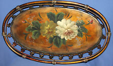 Vintage orate metal floral hand painted platter tray