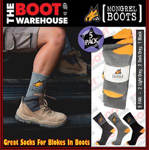 Mongrel Work Boot Socks. Cotton Comfort. 5 PACK. Light Grey / Dark Grey / Black