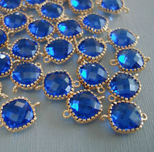 2pcs- Cobalt Blue Square Framed 24K Gold Plated Brass Glass Bezel Connector .