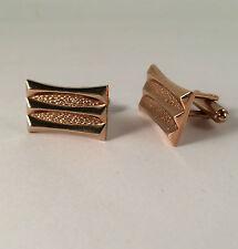 Cufflinks Hickok Rose Gold Tone Metal Textured Stripe Classic Rectangle Angular