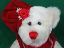 NEW RED HEART LACE DRESS ROSE HAT WHITE GIRL TEDDY BEAR PLUSH STUFFED ANIMAL