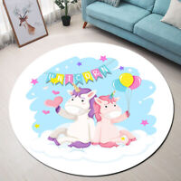 Round Kids Play Mat Unicorn Birthday Party Area Rugs Living Room Floor Carpet
