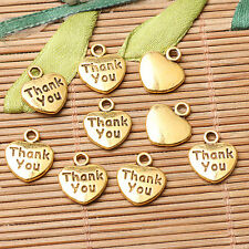 28pcs dark gold color heart shaped Thank you lettering charms  EF2617