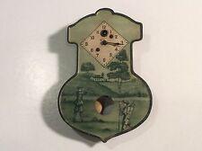RARE ANTIQUE TIN LUX GOLF SCENE CLOCK PENDULUM WALL CLOCK