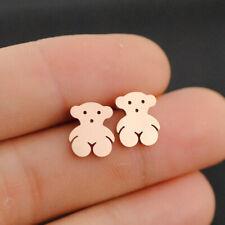 Women Cute Bear Earrings Rose gold Plated Stainless Steel Earrings Gift Jewelry