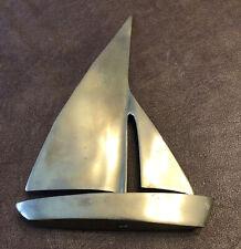 """Brass Sailboat, Nautical Art, Sailboat Sculpture, Brass Sculpture, 8"""" Tall"""