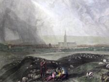 SALISBURY  WILTSHIRE   BY J M W TURNER  GENUINE ANTIQUE  ENGRAVING  c1832