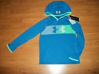 NWT boys youth Under Armour long sleeve hooded shirt, size YLG