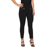 df8ffd3d6ee SA by Seth Aaron Petite Slim Leg Pants with Zipper Detail Black Plus Petite  24