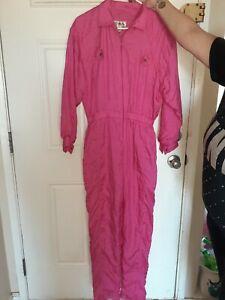 vintage 80s hot pink snow suit