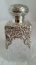 Edwardian Hob nail cut glass scent bottle.Sterling silver mount. Birmingham 1906