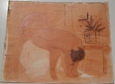 Nude Leaning Over w/Plant in Window, MM Drawing, 1955, August Mosca, Excellent