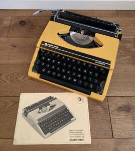 Vintage Yellow Silver Reed Silverette Seiko Typewriter And Case
