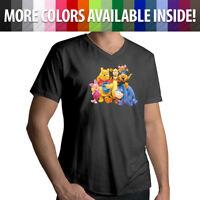 Disney Winnie Pooh Tigger Piglet Eeyore Friends Family Mens Tee V-Neck T-Shirt