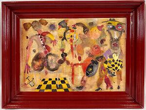 "Original David Tinsley ""Penetration"" American Outsider Art Nude Acrylic Painting"
