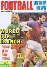 DAVID CROSS ASTON VILLA / PETER NICHOLAS ARSENALFootball Weekly May271981