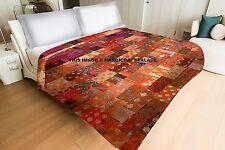 Kantha Silk Sari Beautiful Indian Patola Quilt Patchwork Quilted King Blanket