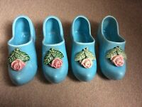 Vintage 1947 McCoy Dutch Shoe Flower Planters Lot of 4 Blue VGC Made in USA