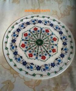 """White 15"""" Marble Coffee Corner Center Room Table Top Inlay Stone Mosaic Plate"""