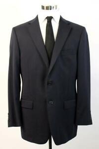 HART SCHAFFNER Navy Blue MARX Blazer Jacket Two Button Coat Half Canvas 44 R
