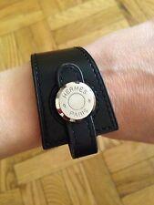 """Hermes Authentic Black Leather Stitched """"Clou De Selle"""" Bracelet"""