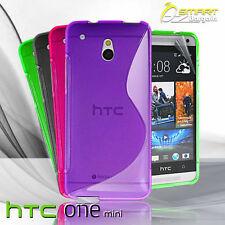 S Curve Gel Case For HTC ONE Mini M4 + Screen Guard TPU Jelly Skin Soft Cover