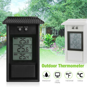 Digital Display Max Min Greenhouse Thermometer Garden Indoor Outdoor Wall Room