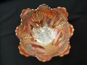 Dugan Carnival Glass Marigold Butterfly and Tulip Fruit Bowl