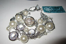 BETSEY JOHNSON BETSEY BLUE CRYSTAL AND FAUX PEARL BRACELET