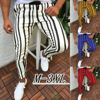 Men Striped Skinny Long Pencil Pants Slim Fit Trousers Casual Outdoor M-3XL US