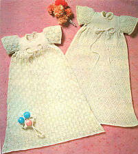 Vintage Machine knitting pattern-How to make 2 lace baby christening gowns