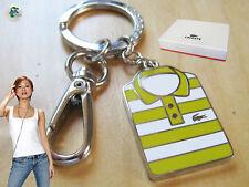 New Authentic LACOSTE POLO SHIRT  KEY RING KEY FOB BAG CHARM Enamel Nikel Lime