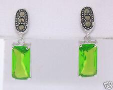 Marcasite Sterling Silver Dangle Simple Rectangular Peridot Earrings