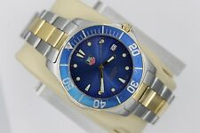Tag Heuer WAB1120.BB0802 BLUE GOLD Aquaracer Watch Mens Professional SS 2-Tone