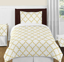 Luxury Metallic Gold And White Trellis Twin Size Girl Teen Bedding Comforter Set