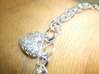 Silver Charm Bracelet Heart padlock Clasp Fancy Link Chunky 925 Sterling SIlver