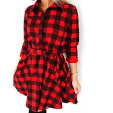 Women Hot Plaid Turn-down Collar Shirt Casual Tunic Shirt Dresses Office Dress''