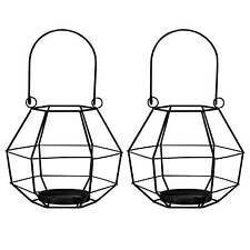 Laternen Set 2 tlg. Metallgeflecht Schwarz / Teelichthalter, Windlicht, Polyeder