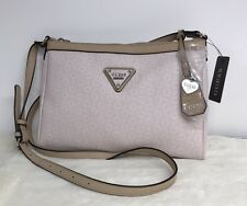 Guess Blush Pink Tan Engagement Logo Print Crossbody Purse Bag Monogrammed Heart