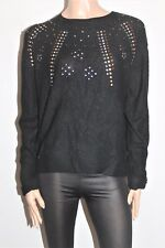 RIVERS Brand Black Embellish Long Sleeve Jumper Size 14 BNWT #TF51