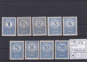 1919/21 Porto Kronenwerte Hochformat Postfrisch ** MNH 84 - 92 x