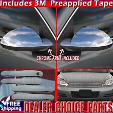 2006-09 10 11 12 2013 Chevy Impala Chrome Door Handle Covers+Grill Top+Mirrors