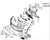 Neuf OEM Mercedes Gle W166 AMG Avant Pare-Choc Léger Chrome Droit Housse