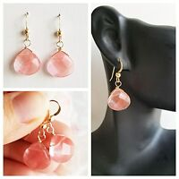Cherry Quartz EARRINGS GEM STONE FACETED Briolette 14k GOLD FILLED DROP EARRING