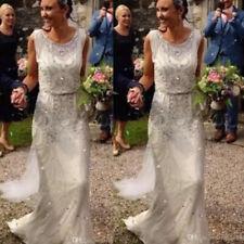 Crystal Shiny Wedding Dresses Bridal Gown Garden Bridal Gowns Full Length Custom