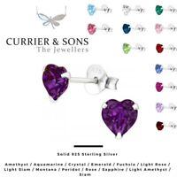 LA CRYSTALE 925 Sterling Silver Heart Stud Earrings with SWAROVSKI® Elements 5mm