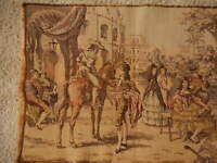 Vintage Tapestry Table Runner Wall Decor Horses  Dancing Court Faded  52x18.5""