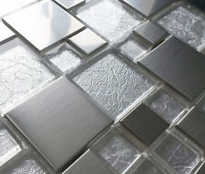 NEW BRUSHED METAL CLEAR GLASS LIGHT SILVER FOIL GREY MOSAIC TILES 8MM - RRP £16