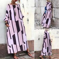 ZANZEA Women Long Batwing Shirt Dress Oversize Stripe Check Long Maxi Dress Plus