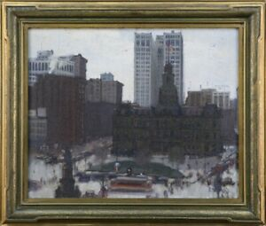 Superb and Early 1923 American Impressionist Oil – NYC Union Square – Signed